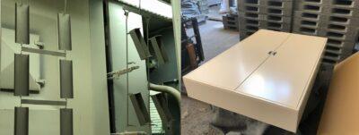大型の盤・板金筐体も対応可能な自動粉体塗装ライン